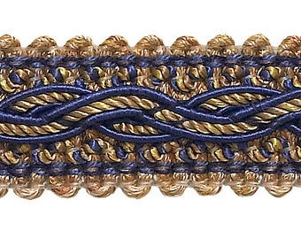 """Navy Blue Taupe  Baroque Collection Gimp Braid 7/8"""" Style# 0078bg Color  Navy Taupe - 5817  (sold by The Yard)"""