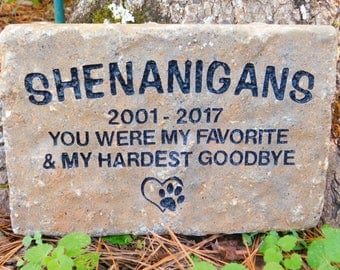 Pet memorial personalized  dog or cat sandcarved large paver stone