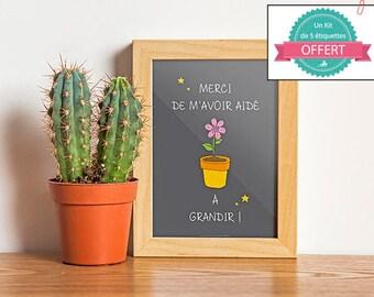 A4 - Poster - Thank you for helping me grow - Master teacher master nanny atsem crèche