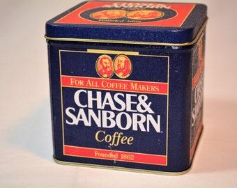 Vintage Tin, Coffee Tin, Chase and Sanborn, Blue Tin, Shelf Decor,,Tin, Farmhouse Decor, Retro Kitchen,Storage Container