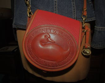 """Dooney & Bourke ~ Duck ~ Logo ~ AWL ~ Red ~ Bag ~ Cross Body ~ Mint ~ Awesome ~ Recycled ~ Small Size ~ 6.5"""" X 6.5"""" X 3"""""""