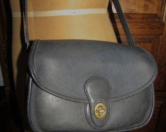 "Coach ~ Prairie Bag ~ Blue ~ Glove Tanned ~ Leather ~ Mint Condition ~ Recycled ~ Vintage ~ Medium Size ~ 10"" X 7"" X 3"""