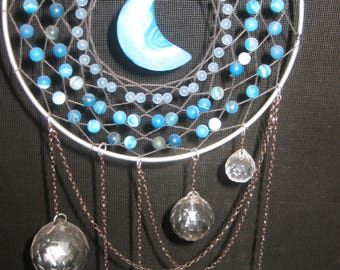 Agate and Asfour Crystal Prism Multi-Color Chain Dreamcatcher