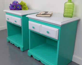 Nightstands Aqua Blue Green White Night Stands Painted End Tables Mid Century Modern Wood Cabinets Vintage Bedroom FREE USA SHIPPING!