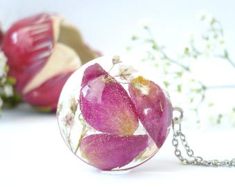 Real Rose Necklace - Real Flower Necklace - Pressed Flower Necklaces - Floral Resin Jewelry - Pressed Flower Jewelry - Floral Resin Jewelry