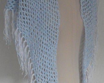 Blue and white shawl with fringe for cool evenings