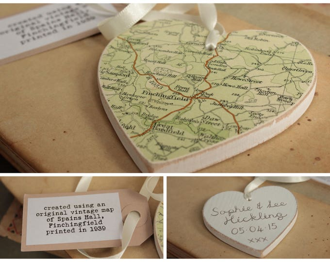 Personalised Vintage Map Wooden Heart - Choose your location