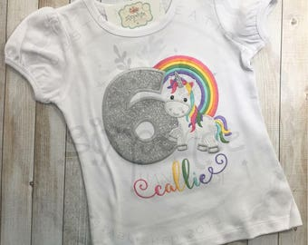 Unicorn Rainbow Glitter Birthday | Shirt or Bodysuit | Custom Embroidered | Personalized | Unicorn Birthday Shirt | Rainbow | By Sixpence
