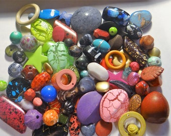 Grab Bag-Assorted Mix of New Acrylic Beads, Assorted Sizes, Shapes and Colors, S-XL, 1 Pound