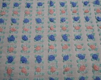 "BLUE & PINK Vantona rosebud large pc fabric 33"" x 36"" vintage chenille bedspread"