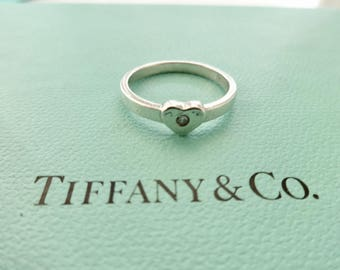 Authentic Tiffany & Co. Paloma Picasso Sterling Silver Heart Ring with Diamond Size 6.0