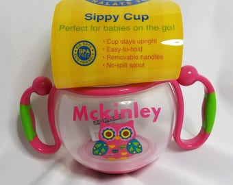 Personalized Owl Sippy Cup, Baby Girls Owl Sippy Cup, Pink Monogrammed Sippy Cup
