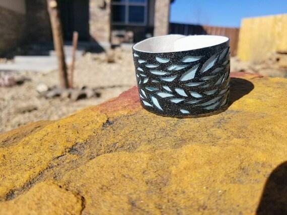 Sparkle Vinyl Cuff Bracelet - Layered Lace. Choose your color.