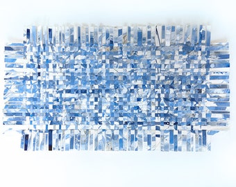 Blue Crossword Paper Weaving- Abstract Art- Woven Paper- Shades of Blue, White- 14x26- Horizontal or Vertical