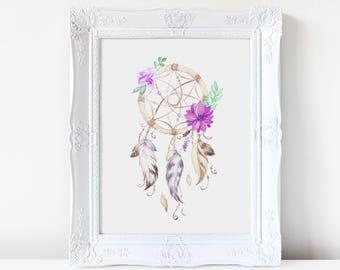 Bohemian Watercolor Artwork Digital Print Feather Beads Dreamcatcher Native Nursery Baby Shower Little Girl Teen Lavender Purple Mint
