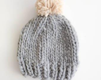 Light Merino Wool - grey adult hat with Pompom
