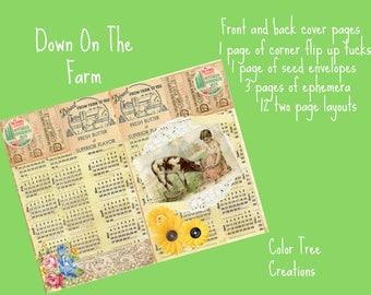 Down On The Farm ,Country, Digital Journal Kit, ephemera, printable, daisy, roses, cow, chicken, pig, hog, goat, chicks, sunflower,