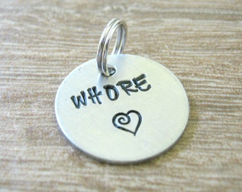 Tiny Whore Tag, Slut Collar Stag, 19mm, 3/4 inch, stamped up to 6 letters, alkeme disc, Slave Tag, Slave Collar Tag, Daddy's Little Slut