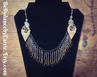 Cut Steel Bead Fringe | Tribal Fusion Bellydance Necklace