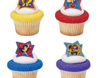 12 DC Super Hero Girls Cupcake Rings Toppers Party Favors Wonder Woman Supergirl Batgirl Bumblebee