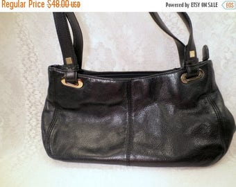 50% Off Estate Sale Vintage Black Leather Purse, Designer Liz Claiborne Leather Handbag, Vintage Purse, Women's Accessory Reptile trim, item