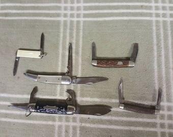 5 Vintage Pocket Knives. Utility.  Pocket Knife.