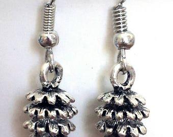 Pinecone Tibetan Silver Mimimalist Charm Earrings Small Dangle Earrings Winter Statement Earrings Nature Lover Gift Unique Pinecone Earrings