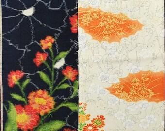 Vintage kimono silk fabric-2 pcs #7462
