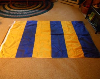 """Marine Signal Flag Letter """"G"""", Yellow & Blue Striped Merchant Marine Signal Flag Extra Large, Used on USS Truman and Retired, Gift for G"""