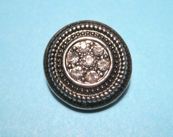 Silver Tone Round Snap Buttons Charms With Rhinestones Knob Size 5~5.5mm (No.30)
