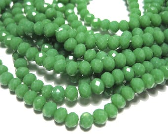 1 Strand Green Faceted Rondelle Glass Beads 4x3mm ( No.08)