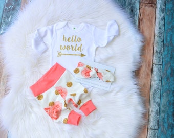 hello world outfit, hello world newborn outfit, hello world, hello world coming home outfit, hello world take home outfit, newborn outfit