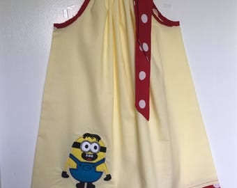Custom Made Pillowcase Dress- Solid Light Yellow with Minion Machine Embroidered Appliqué with Res Polka Dots- NB-8 y/o
