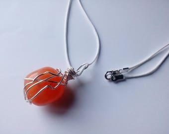 Carnelian wire wrap necklace