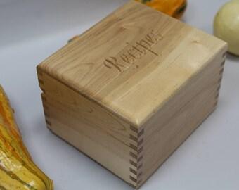 Maple Recipe Box, Carved Recipe Box,Wood Recipe Box, Index Card Box, Maple Recipe Box, Recipe Card Box  3 x 5, Wooden Recipe Box (rc51111S)