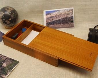Sliding Lid Photo Box, Photo Box 5 x 7 with partition, Sliding Top Box, Sliding Lid Box, Sliding Top Photo Box, , Wooden Photo Box, st51129C