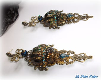 Earrings, Art Deco, Art Nouveau, Insects, Beetle, Fantasy, Baroque, Victorian, Lalique, New Baroque, Vintage, Rococo,Fashion earrings,kitsch
