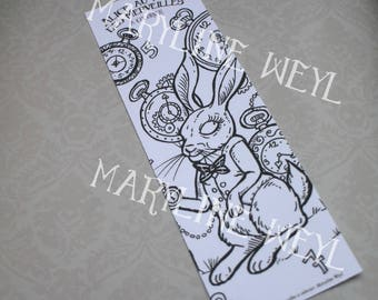 "Bookmark coloring ""Alice in Wonderland of"" the White Rabbit"