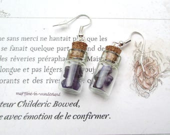 Amethyst vial earrings