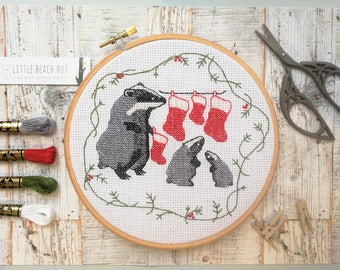 Badger Christmas cross stitch kit, Christmas embroidery, cross stitch kit badger, Christmas gifts, badger gift, easy cross stitch kit,