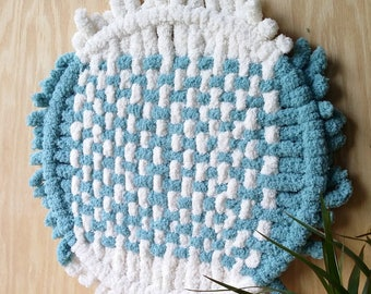 Chunky yarn weaving White teal wall hanging 14Inches Large hoop wall hanging Boho modern macrame living / nursery room Housewarming gift