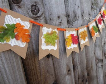 Leaf bunting for a baby shower, wedding, engagement, bridal shower, birthday, home decor, photo prop
