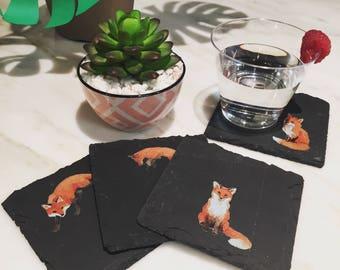 Fox Slate Coasters, Natural Stone