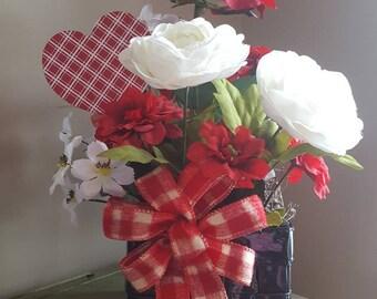 Valentine's Flower Arrangement, Faux Flower Arrangement, Red Roses, Valentine's Decor, Red Floral Arrangement, Sweetheart Flowers