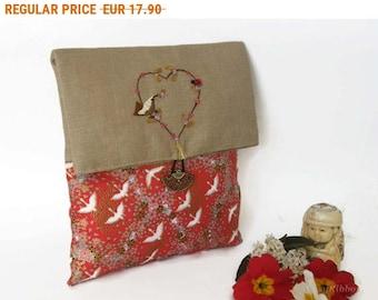 Summer Sale , Japanese Fabric Clutch Bag , Cosmetic Clutch Bag, Cosmetic Foldover Pouch, Cosmetic Clutch Bag, Travel Clutch Bag, Fabric
