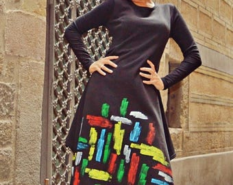 ON SALE Handmade Painted Maxi Dress TDK208, Extravagant Loose Black Dress, Cotton Fleece Maxi Dress