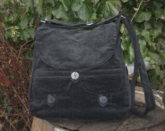 Black corduroy messenger bag,buttoned big bag