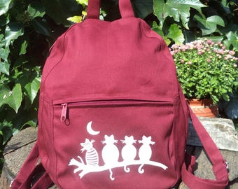 Claret canvas small backpack with cats