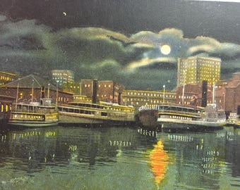 Vintage Postcard Providence R I Showing Skyscrapers at Night 1930's -1940's