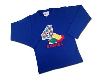 Building Bricks Birthday Shirt with Number and Name